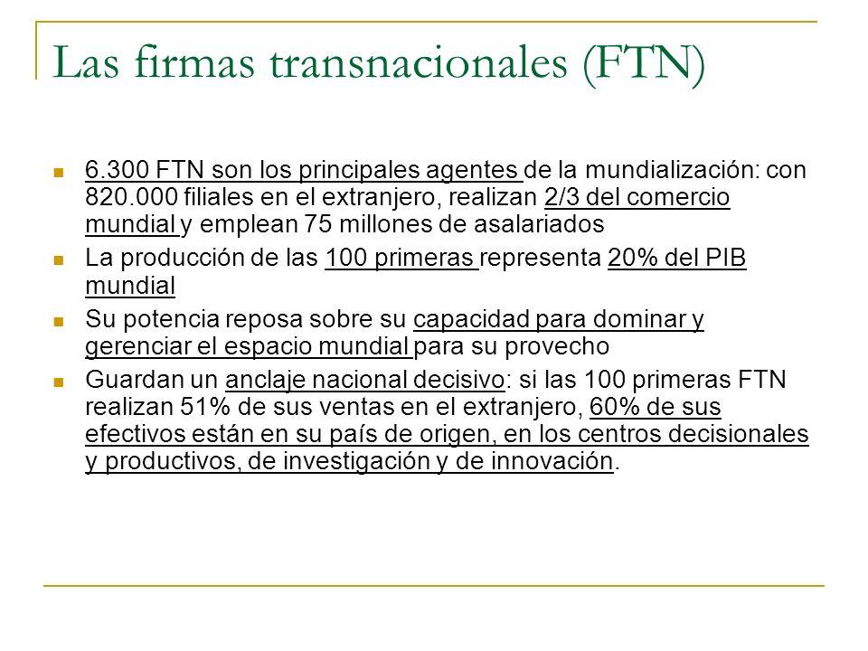 Las firmas transnacionales (FTN) 6.300 FTN son los principales agentes de la mundialización: con 820.000 filiales en el extranjero, realizan 2/3 del c