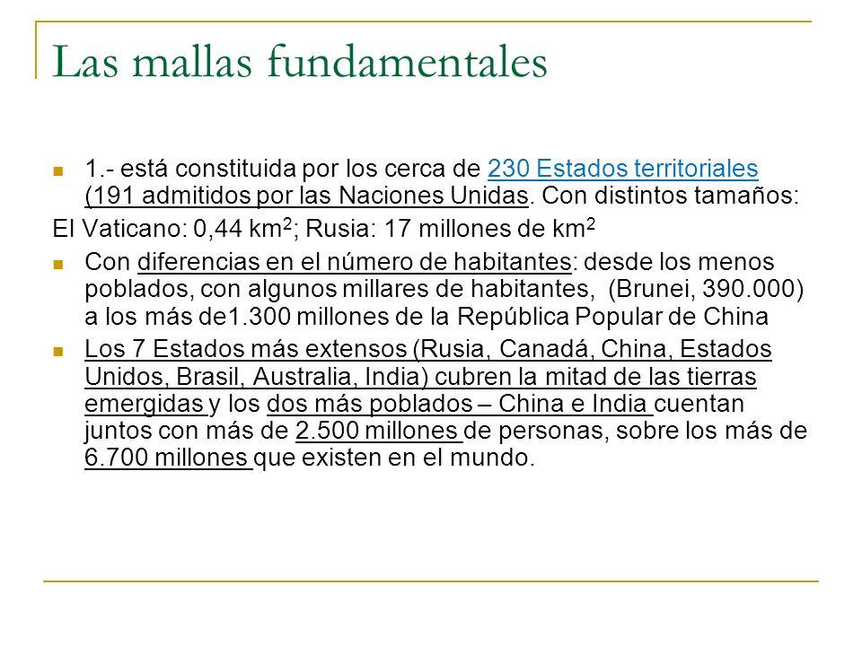 Las mallas fundamentales 1.- está constituida por los cerca de 230 Estados territoriales (191 admitidos por las Naciones Unidas. Con distintos tamaños