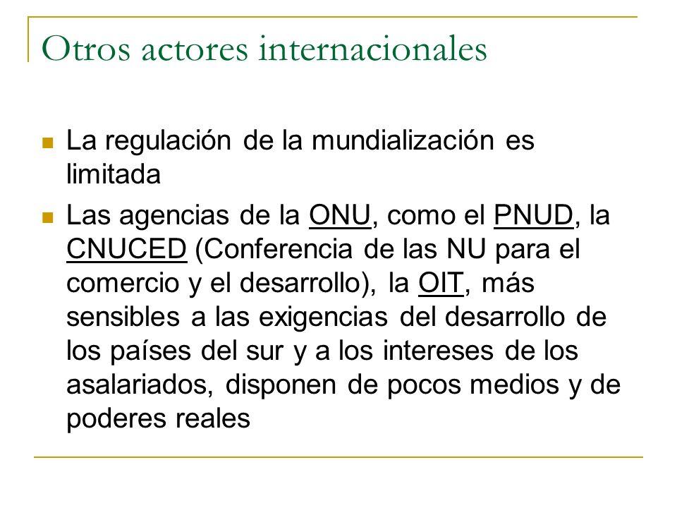 Otros actores internacionales La regulación de la mundialización es limitada Las agencias de la ONU, como el PNUD, la CNUCED (Conferencia de las NU pa