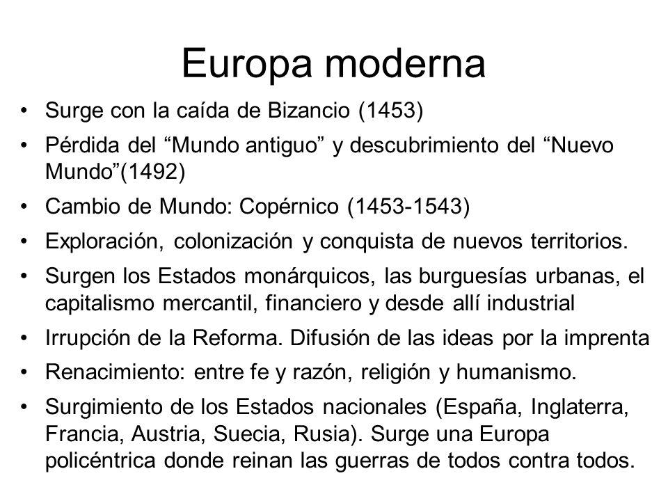 Europa moderna Surge con la caída de Bizancio (1453) Pérdida del Mundo antiguo y descubrimiento del Nuevo Mundo(1492) Cambio de Mundo: Copérnico (1453
