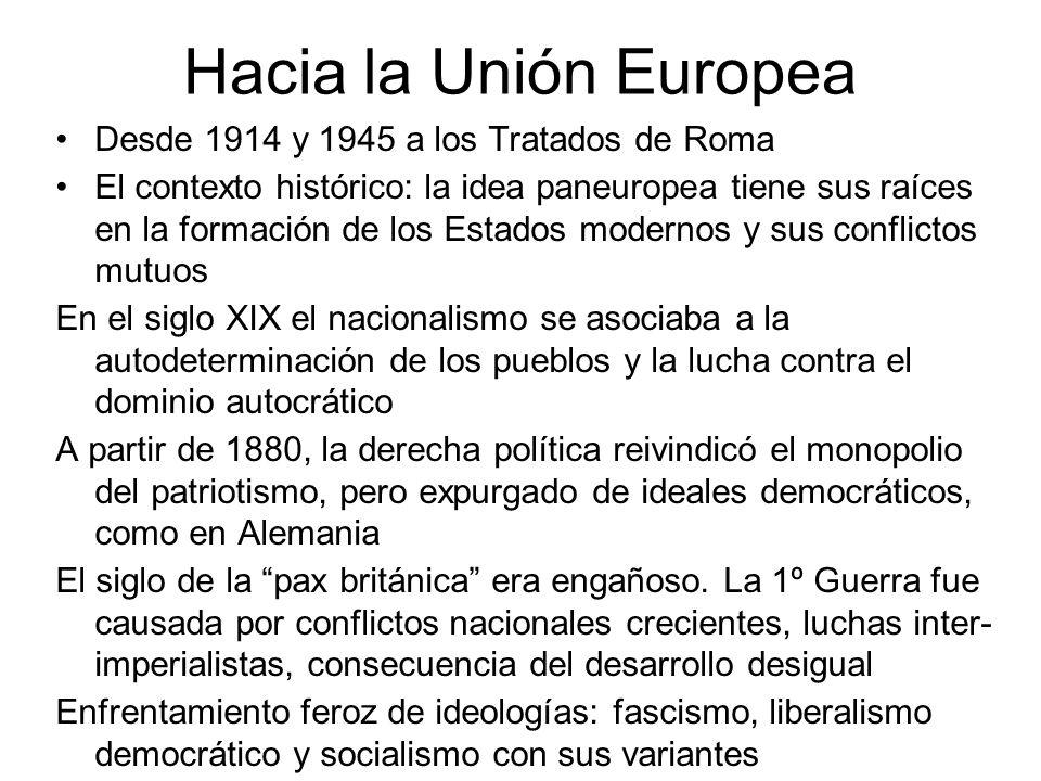 Hacia la Unión Europea Desde 1914 y 1945 a los Tratados de Roma El contexto histórico: la idea paneuropea tiene sus raíces en la formación de los Esta