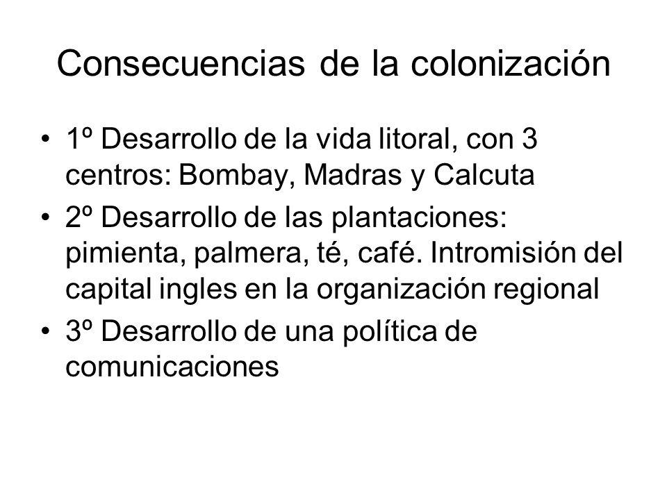 Consecuencias de la colonización 1º Desarrollo de la vida litoral, con 3 centros: Bombay, Madras y Calcuta 2º Desarrollo de las plantaciones: pimienta