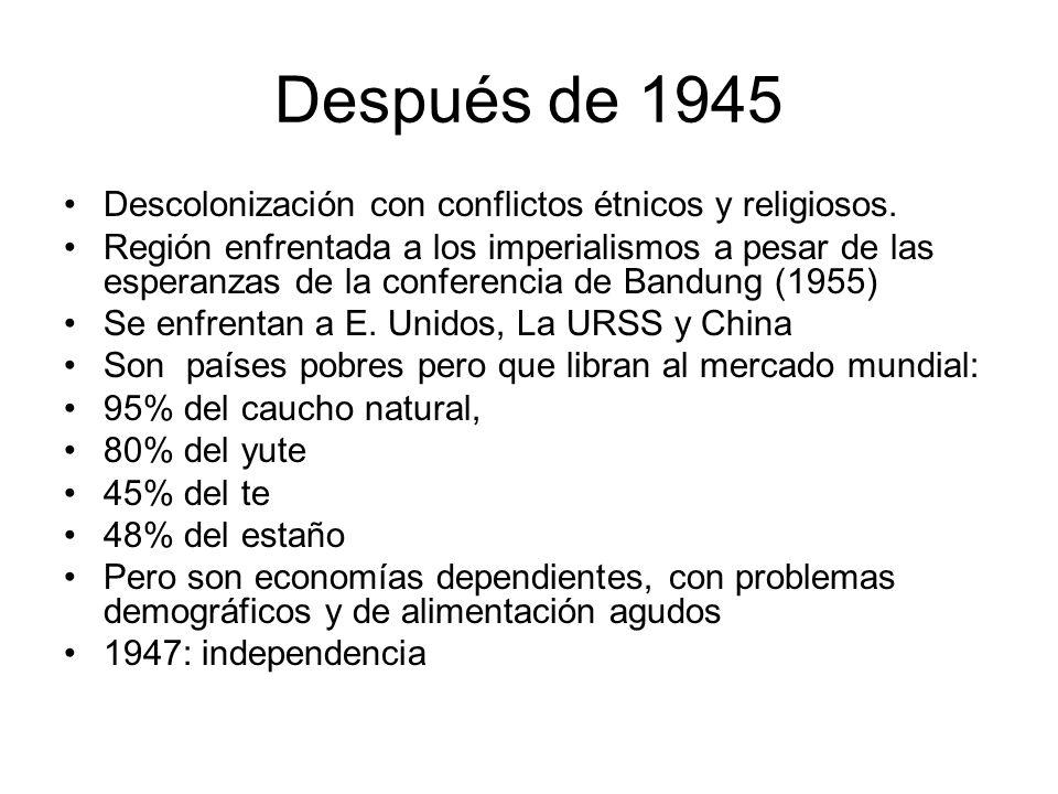 Después de 1945 Descolonización con conflictos étnicos y religiosos. Región enfrentada a los imperialismos a pesar de las esperanzas de la conferencia