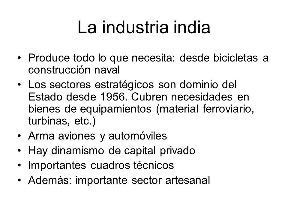 La industria india Produce todo lo que necesita: desde bicicletas a construcción naval Los sectores estratégicos son dominio del Estado desde 1956. Cu