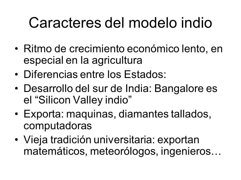 Caracteres del modelo indio Ritmo de crecimiento económico lento, en especial en la agricultura Diferencias entre los Estados: Desarrollo del sur de I