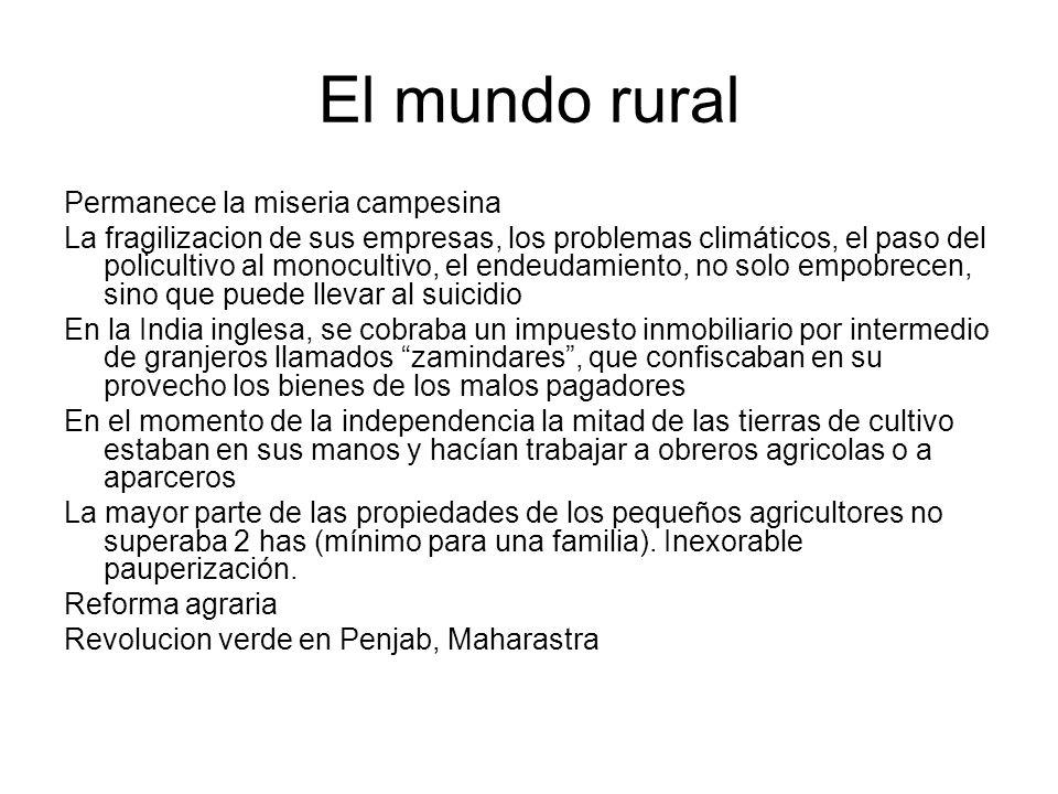 El mundo rural Permanece la miseria campesina La fragilizacion de sus empresas, los problemas climáticos, el paso del policultivo al monocultivo, el e