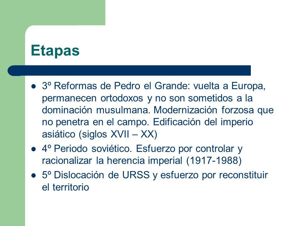 Etapas 3º Reformas de Pedro el Grande: vuelta a Europa, permanecen ortodoxos y no son sometidos a la dominación musulmana. Modernización forzosa que n