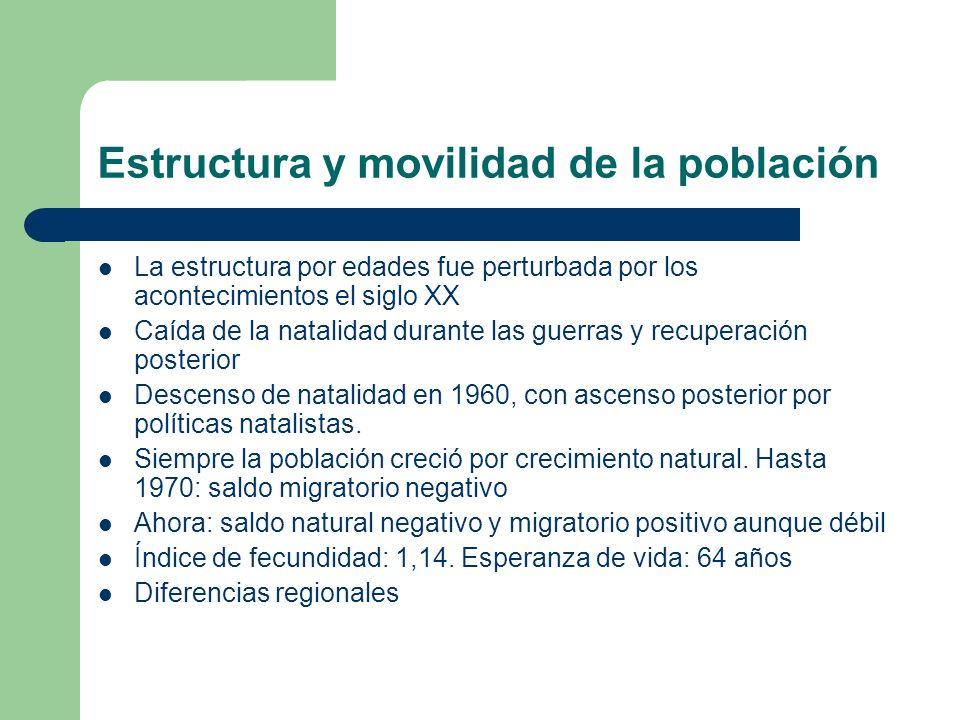 Estructura y movilidad de la población La estructura por edades fue perturbada por los acontecimientos el siglo XX Caída de la natalidad durante las g