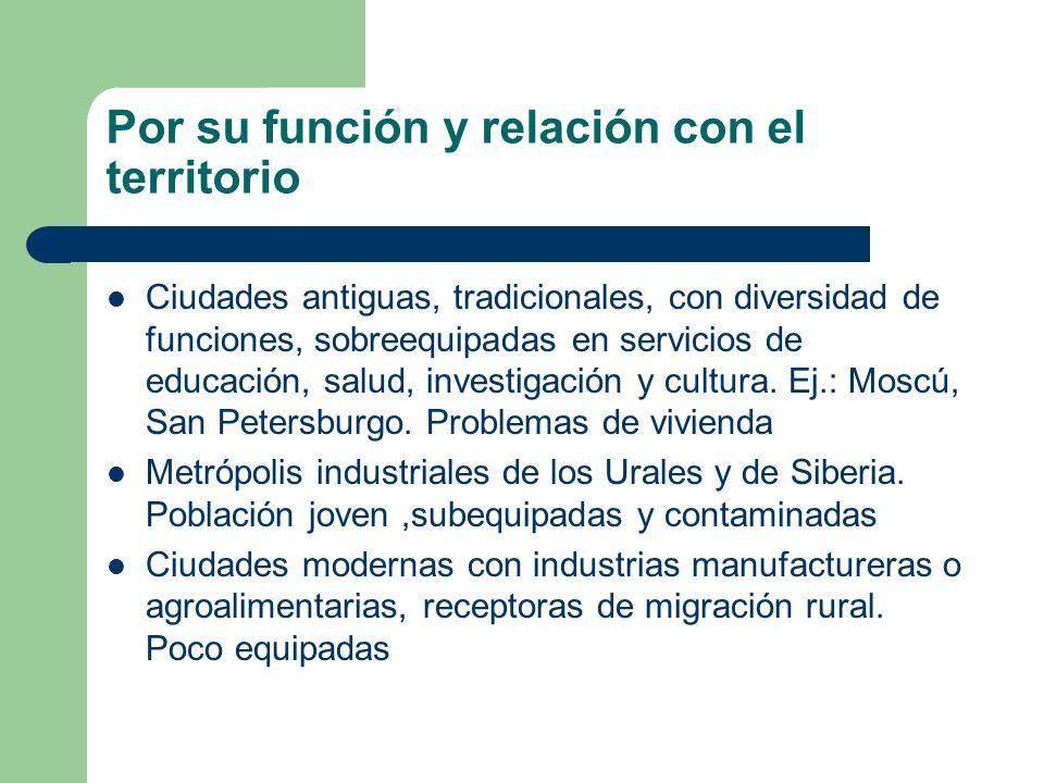 Por su función y relación con el territorio Ciudades antiguas, tradicionales, con diversidad de funciones, sobreequipadas en servicios de educación, s