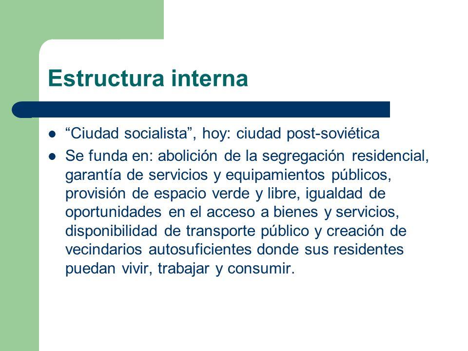 Estructura interna Ciudad socialista, hoy: ciudad post-soviética Se funda en: abolición de la segregación residencial, garantía de servicios y equipam