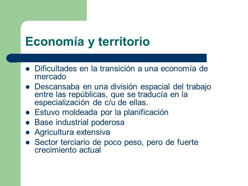 Economía y territorio Dificultades en la transición a una economía de mercado Descansaba en una división espacial del trabajo entre las repúblicas, qu