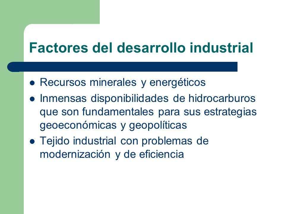 Factores del desarrollo industrial Recursos minerales y energéticos Inmensas disponibilidades de hidrocarburos que son fundamentales para sus estrateg