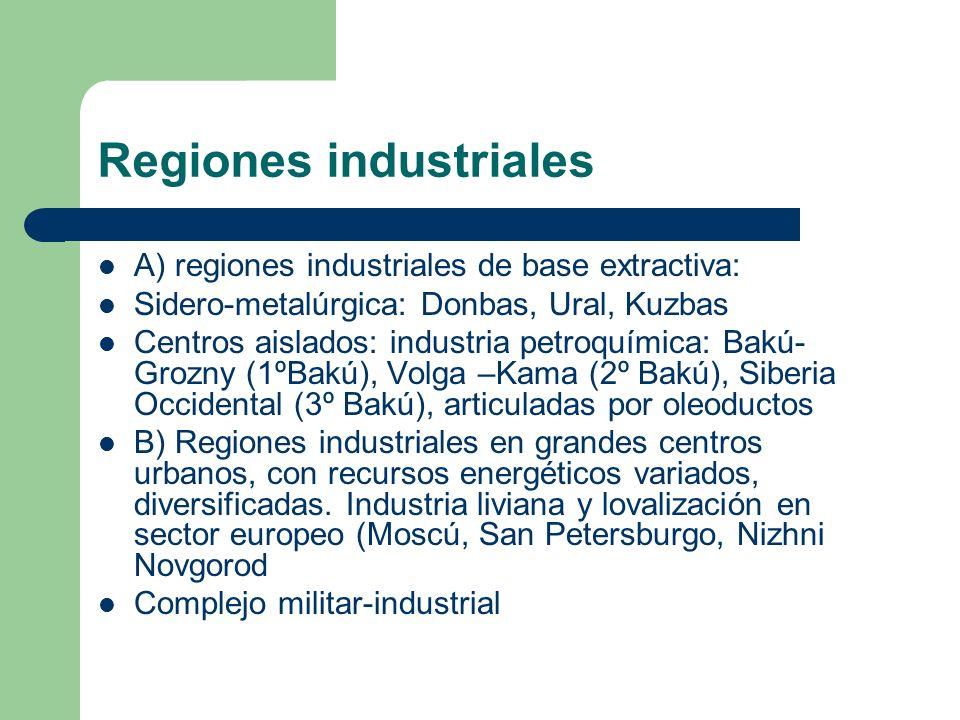 Regiones industriales A) regiones industriales de base extractiva: Sidero-metalúrgica: Donbas, Ural, Kuzbas Centros aislados: industria petroquímica:
