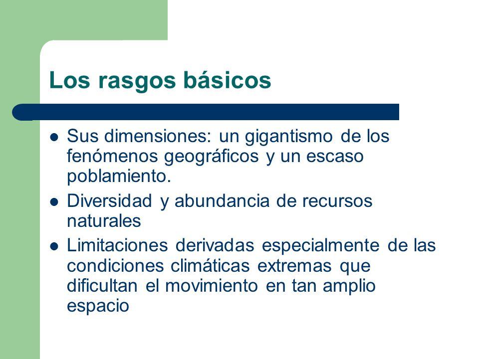Los rasgos básicos Sus dimensiones: un gigantismo de los fenómenos geográficos y un escaso poblamiento. Diversidad y abundancia de recursos naturales