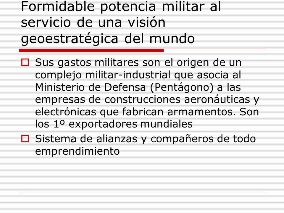 Formidable potencia militar al servicio de una visión geoestratégica del mundo Sus gastos militares son el origen de un complejo militar-industrial qu