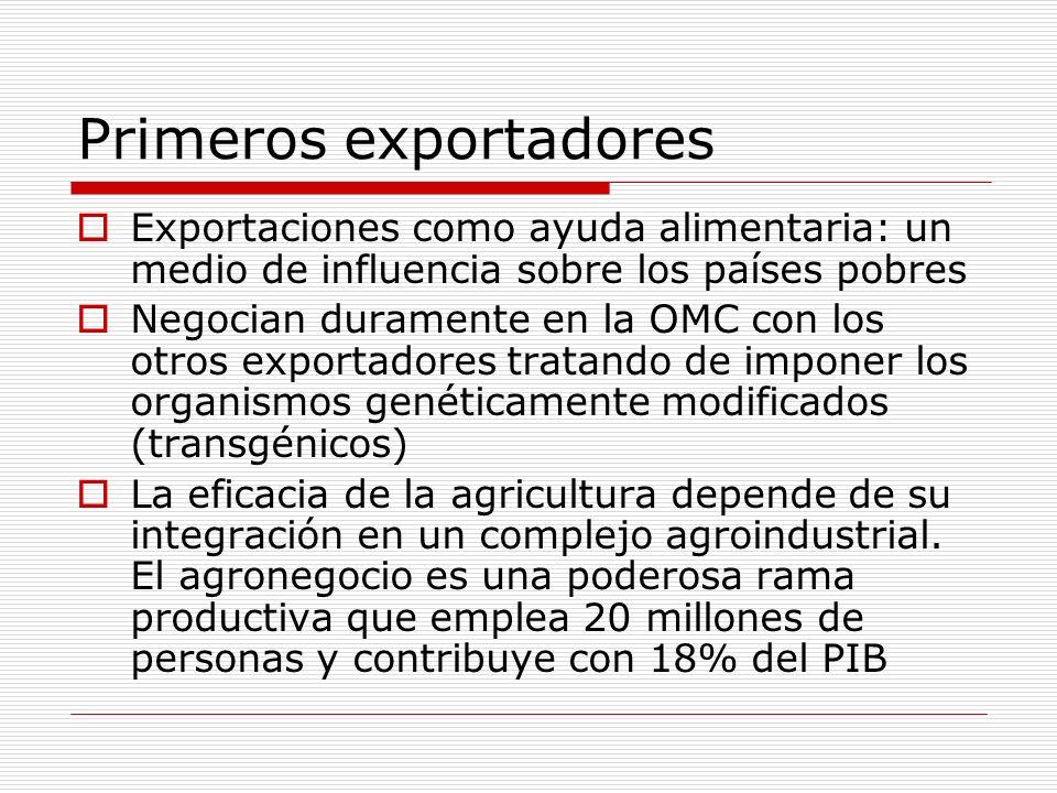 Primeros exportadores Exportaciones como ayuda alimentaria: un medio de influencia sobre los países pobres Negocian duramente en la OMC con los otros
