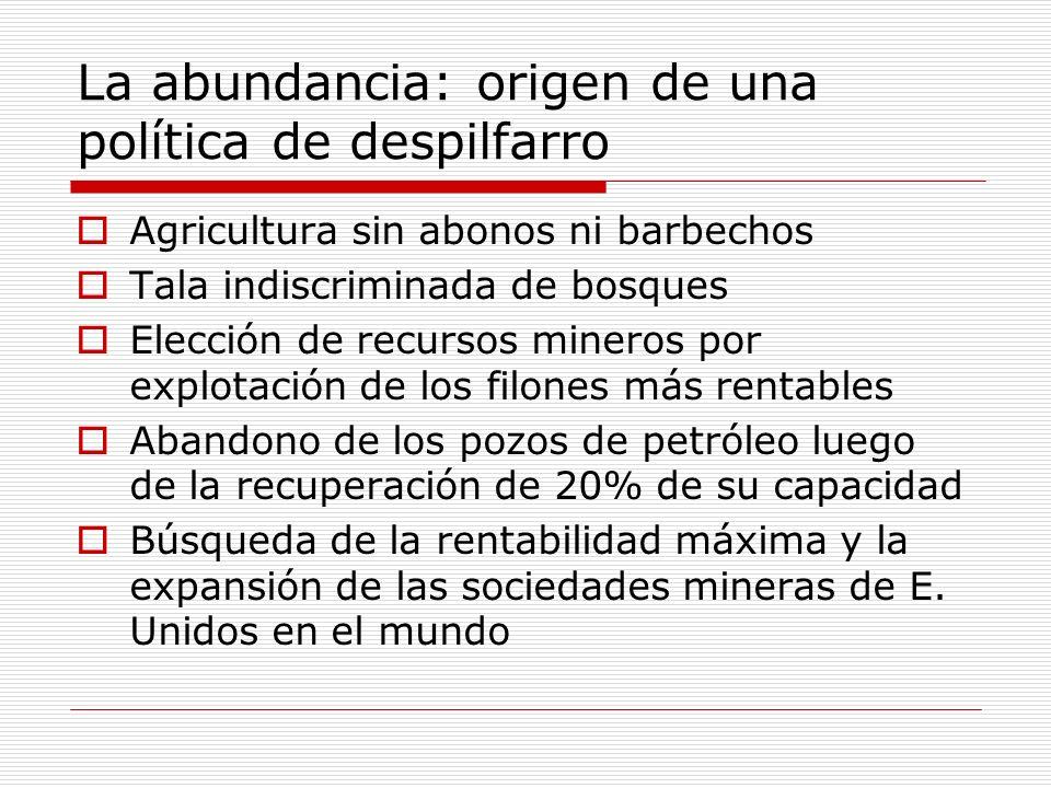 La abundancia: origen de una política de despilfarro Agricultura sin abonos ni barbechos Tala indiscriminada de bosques Elección de recursos mineros p