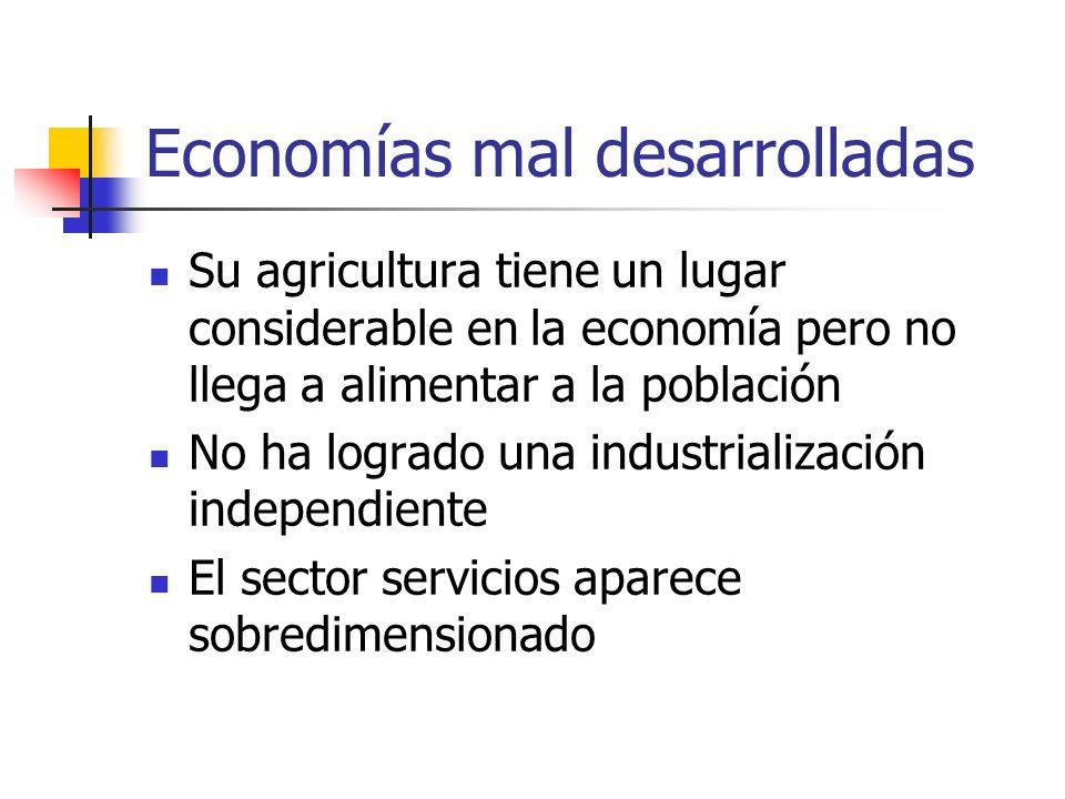 Economías mal desarrolladas Su agricultura tiene un lugar considerable en la economía pero no llega a alimentar a la población No ha logrado una indus