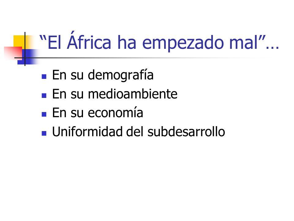 El África ha empezado mal… En su demografía En su medioambiente En su economía Uniformidad del subdesarrollo