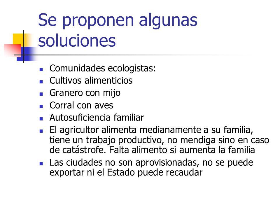 Se proponen algunas soluciones Comunidades ecologistas: Cultivos alimenticios Granero con mijo Corral con aves Autosuficiencia familiar El agricultor