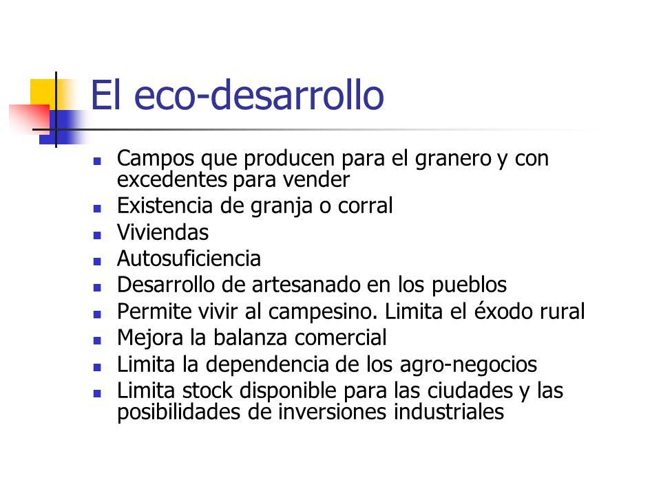 El eco-desarrollo Campos que producen para el granero y con excedentes para vender Existencia de granja o corral Viviendas Autosuficiencia Desarrollo