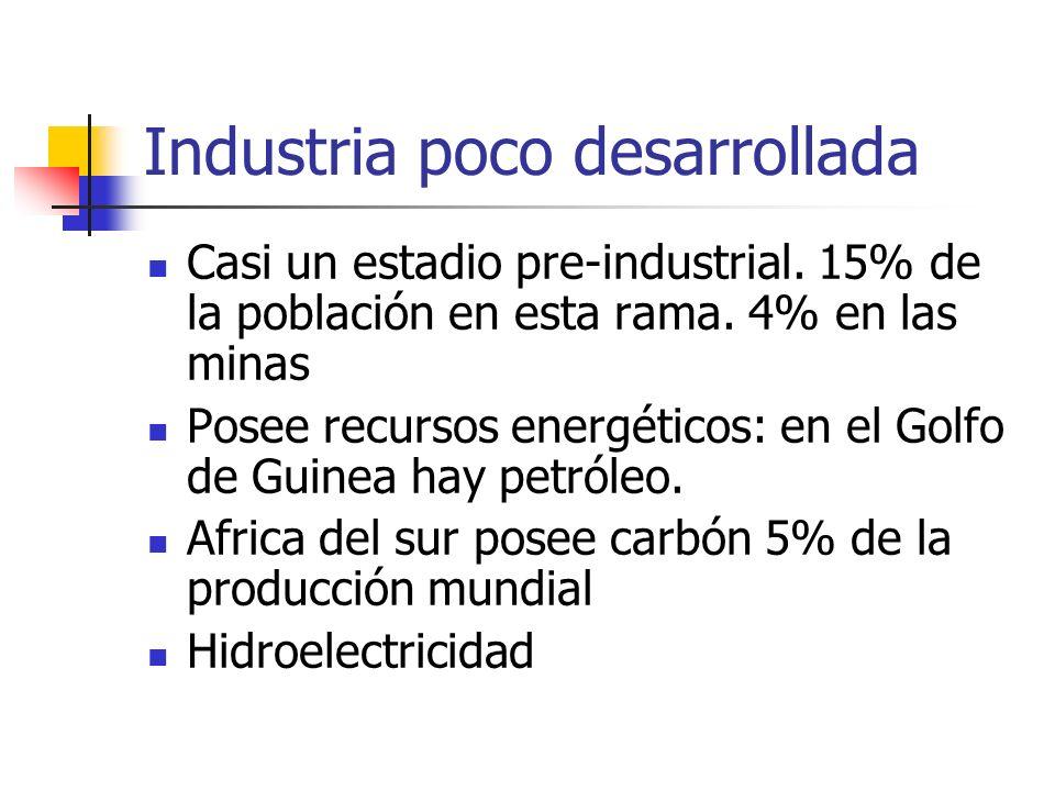 Industria poco desarrollada Casi un estadio pre-industrial. 15% de la población en esta rama. 4% en las minas Posee recursos energéticos: en el Golfo