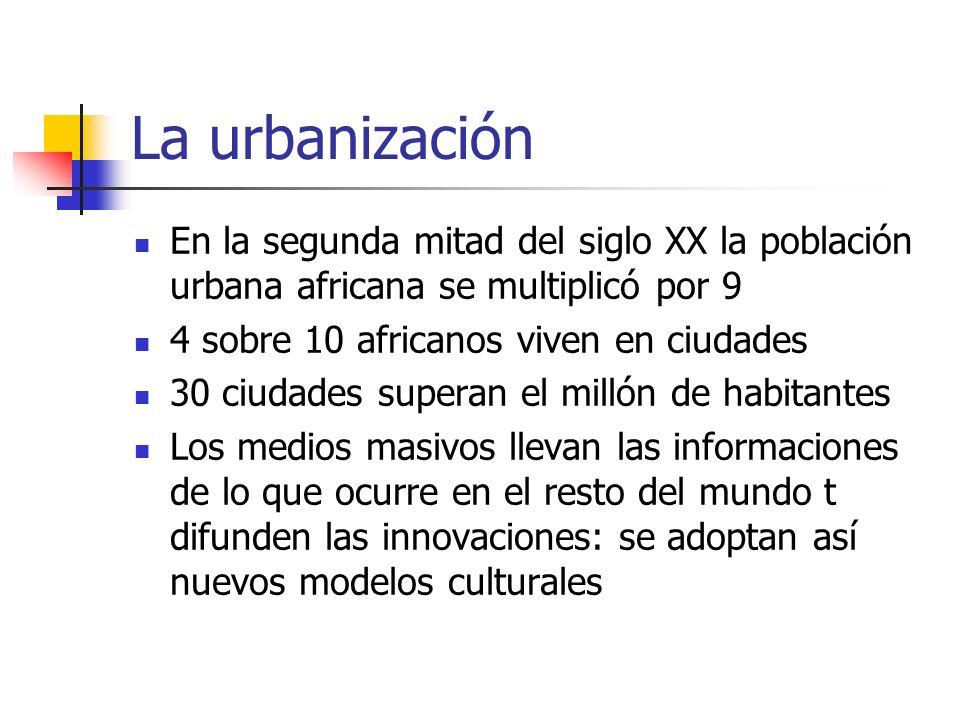 La urbanización En la segunda mitad del siglo XX la población urbana africana se multiplicó por 9 4 sobre 10 africanos viven en ciudades 30 ciudades s