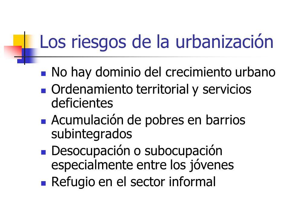 Los riesgos de la urbanización No hay dominio del crecimiento urbano Ordenamiento territorial y servicios deficientes Acumulación de pobres en barrios