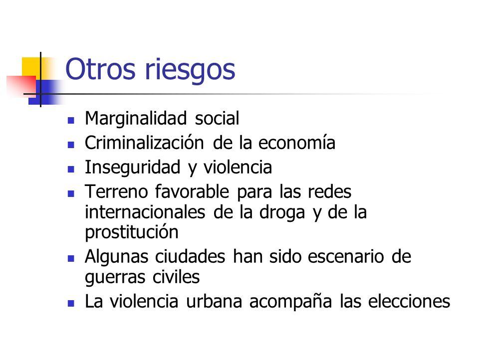 Otros riesgos Marginalidad social Criminalización de la economía Inseguridad y violencia Terreno favorable para las redes internacionales de la droga