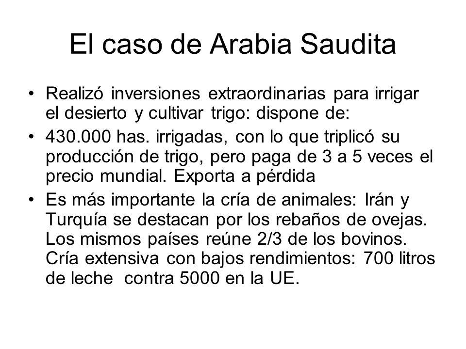 El caso de Arabia Saudita Realizó inversiones extraordinarias para irrigar el desierto y cultivar trigo: dispone de: 430.000 has. irrigadas, con lo qu
