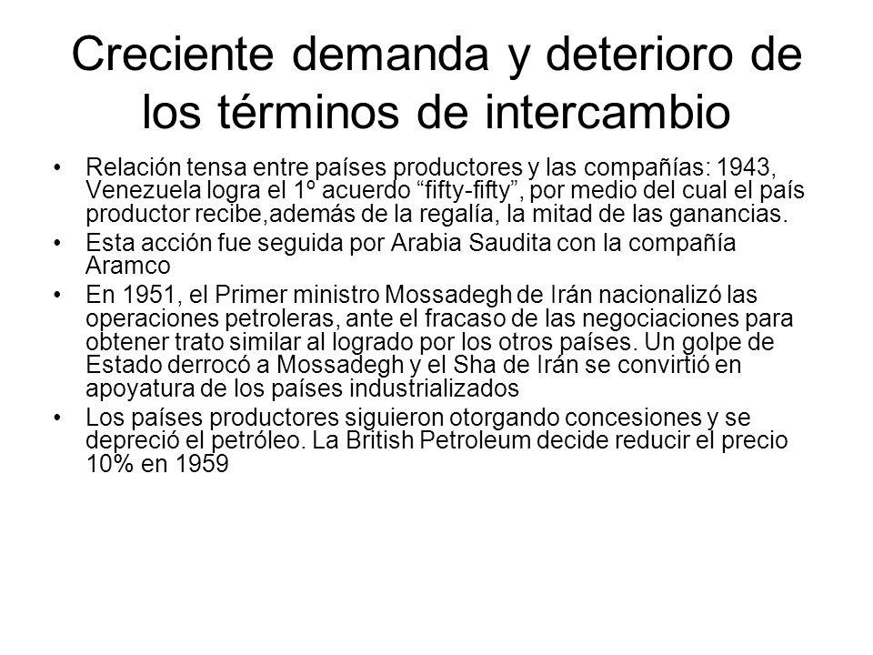 Creciente demanda y deterioro de los términos de intercambio Relación tensa entre países productores y las compañías: 1943, Venezuela logra el 1º acue