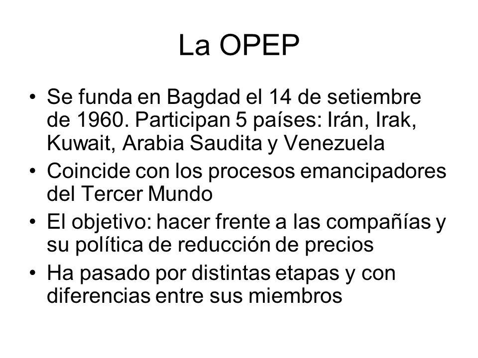 La OPEP Se funda en Bagdad el 14 de setiembre de 1960. Participan 5 países: Irán, Irak, Kuwait, Arabia Saudita y Venezuela Coincide con los procesos e