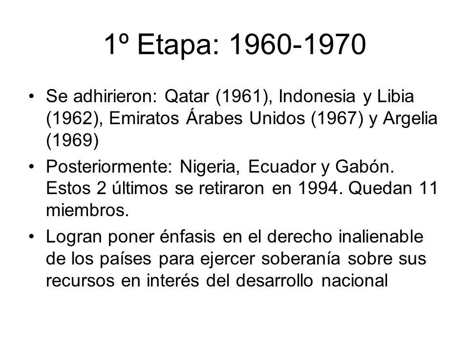 1º Etapa: 1960-1970 Se adhirieron: Qatar (1961), Indonesia y Libia (1962), Emiratos Árabes Unidos (1967) y Argelia (1969) Posteriormente: Nigeria, Ecu