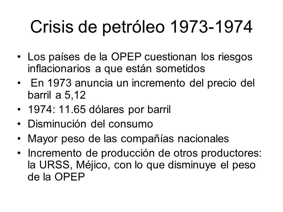Crisis de petróleo 1973-1974 Los países de la OPEP cuestionan los riesgos inflacionarios a que están sometidos En 1973 anuncia un incremento del preci