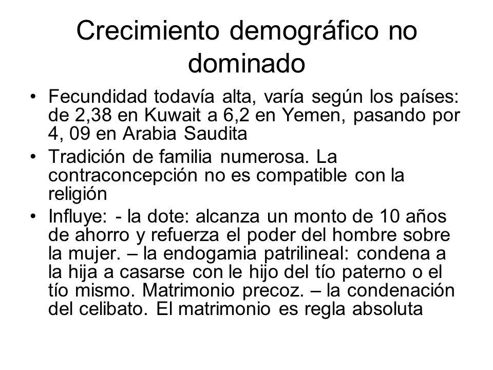 Crecimiento demográfico no dominado Fecundidad todavía alta, varía según los países: de 2,38 en Kuwait a 6,2 en Yemen, pasando por 4, 09 en Arabia Sau