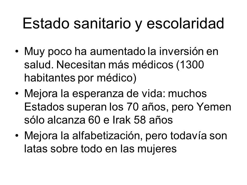 Estado sanitario y escolaridad Muy poco ha aumentado la inversión en salud. Necesitan más médicos (1300 habitantes por médico) Mejora la esperanza de