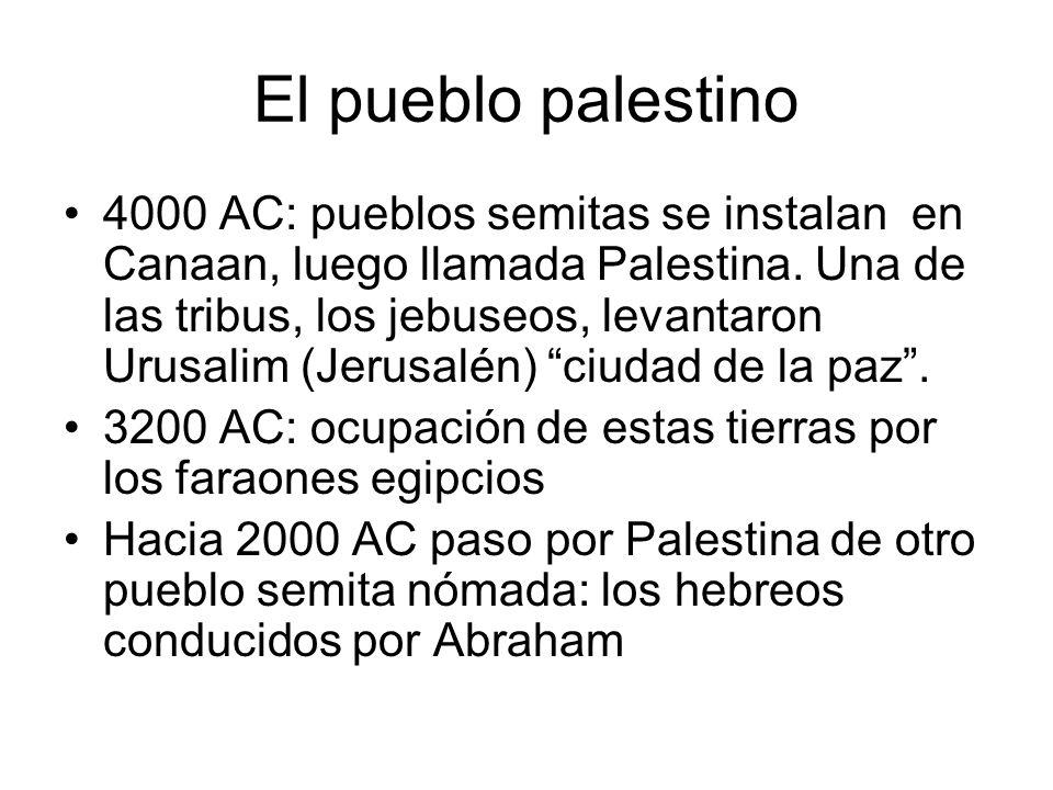 El pueblo palestino 4000 AC: pueblos semitas se instalan en Canaan, luego llamada Palestina. Una de las tribus, los jebuseos, levantaron Urusalim (Jer
