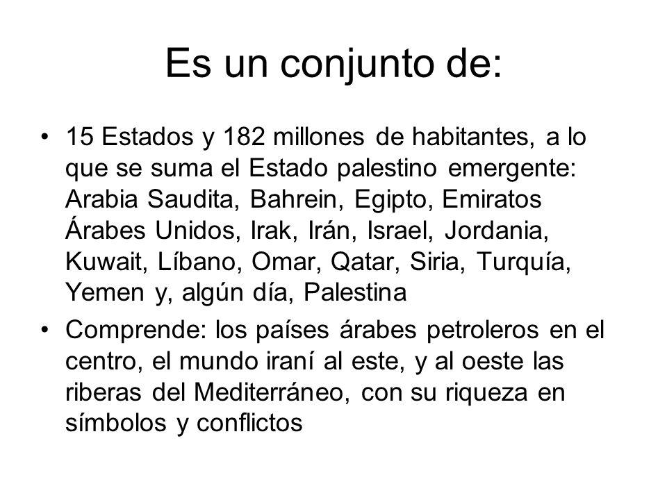 Es un conjunto de: 15 Estados y 182 millones de habitantes, a lo que se suma el Estado palestino emergente: Arabia Saudita, Bahrein, Egipto, Emiratos