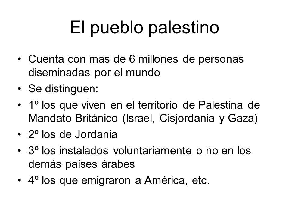 El pueblo palestino Cuenta con mas de 6 millones de personas diseminadas por el mundo Se distinguen: 1º los que viven en el territorio de Palestina de
