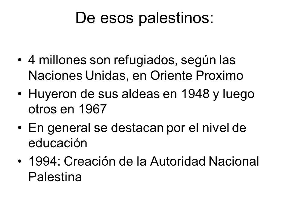 De esos palestinos: 4 millones son refugiados, según las Naciones Unidas, en Oriente Proximo Huyeron de sus aldeas en 1948 y luego otros en 1967 En ge