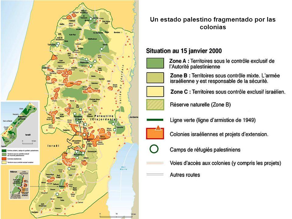 Un estado palestino fragmentado por las colonias