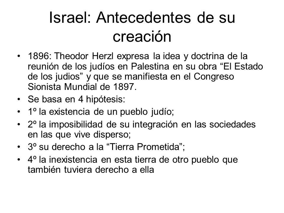 Israel: Antecedentes de su creación 1896: Theodor Herzl expresa la idea y doctrina de la reunión de los judíos en Palestina en su obra El Estado de lo