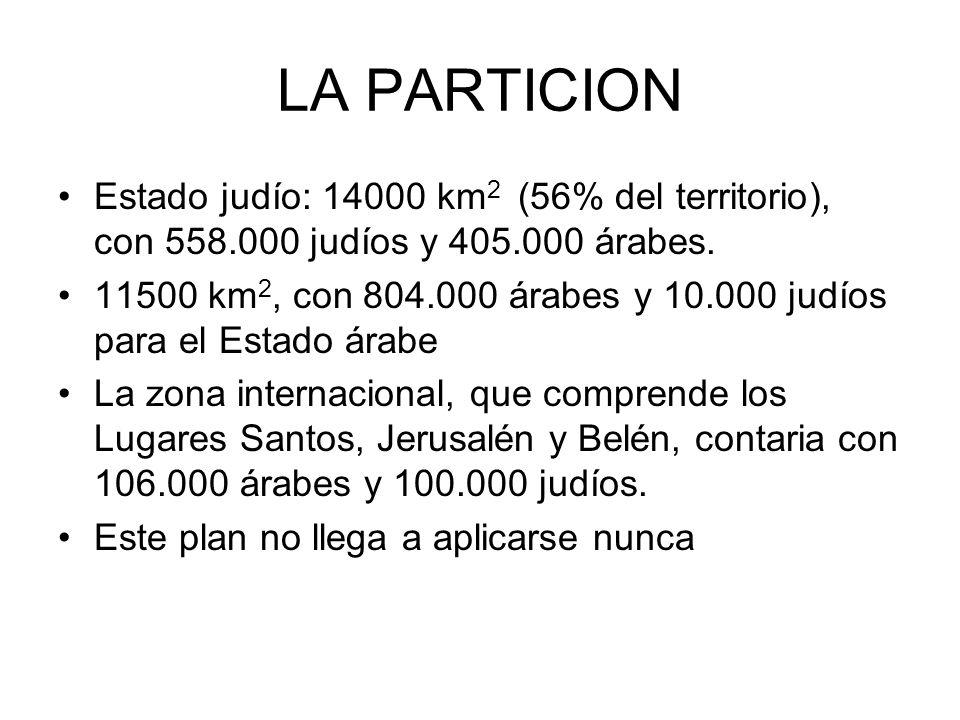 LA PARTICION Estado judío: 14000 km 2 (56% del territorio), con 558.000 judíos y 405.000 árabes. 11500 km 2, con 804.000 árabes y 10.000 judíos para e