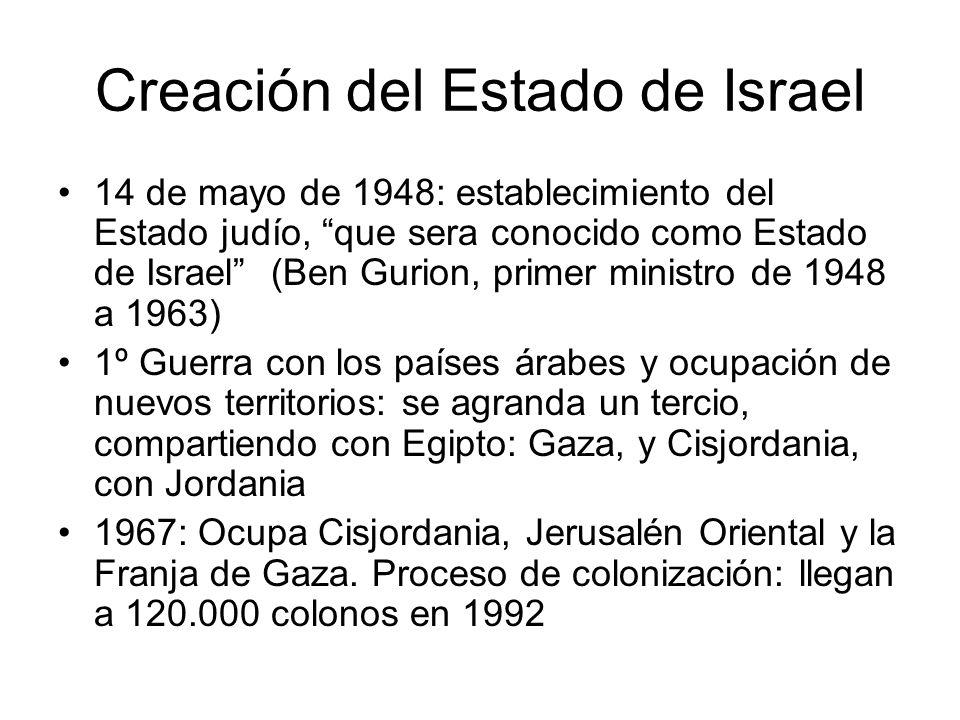 Creación del Estado de Israel 14 de mayo de 1948: establecimiento del Estado judío, que sera conocido como Estado de Israel (Ben Gurion, primer minist