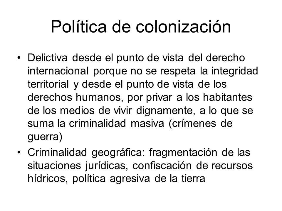 Política de colonización Delictiva desde el punto de vista del derecho internacional porque no se respeta la integridad territorial y desde el punto d