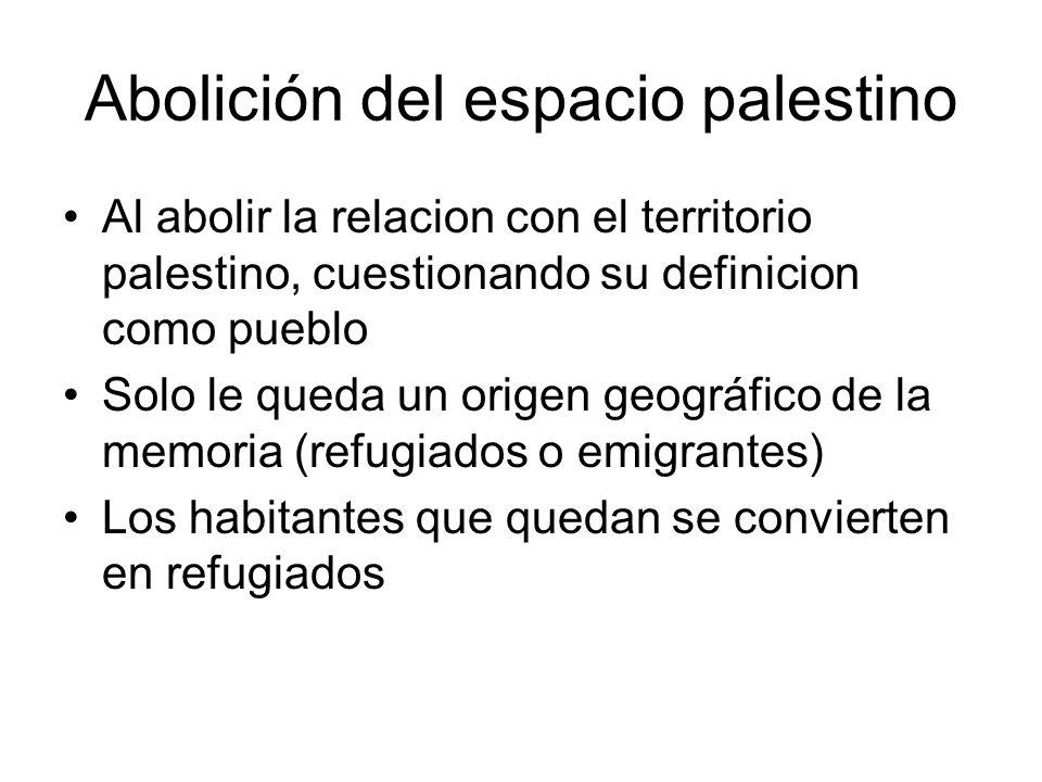 Abolición del espacio palestino Al abolir la relacion con el territorio palestino, cuestionando su definicion como pueblo Solo le queda un origen geog