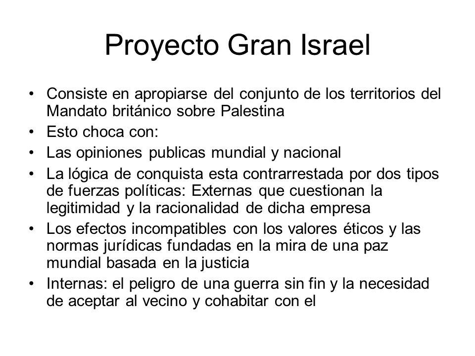 Proyecto Gran Israel Consiste en apropiarse del conjunto de los territorios del Mandato británico sobre Palestina Esto choca con: Las opiniones public