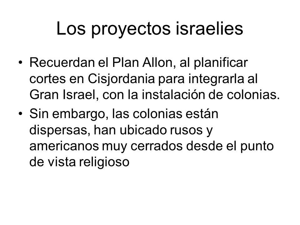 Los proyectos israelies Recuerdan el Plan Allon, al planificar cortes en Cisjordania para integrarla al Gran Israel, con la instalación de colonias. S
