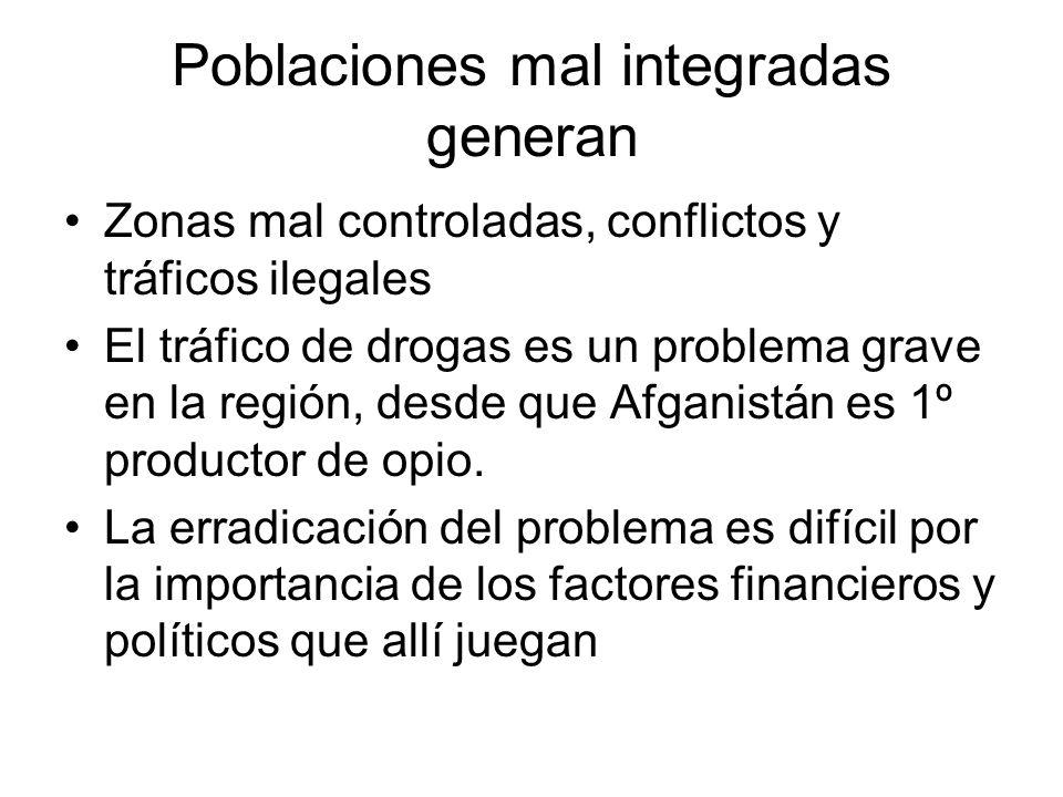 Poblaciones mal integradas generan Zonas mal controladas, conflictos y tráficos ilegales El tráfico de drogas es un problema grave en la región, desde