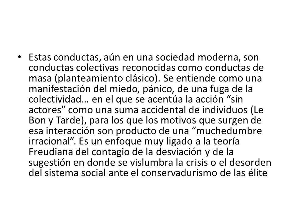 Estas conductas, aún en una sociedad moderna, son conductas colectivas reconocidas como conductas de masa (planteamiento clásico). Se entiende como un